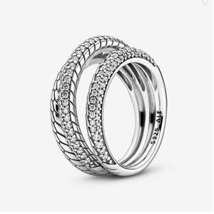 NWT Pandora Triple Band Pavé Ring